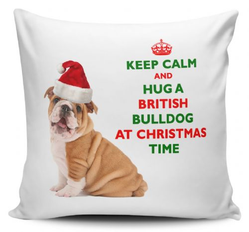 Christmas Keep Calm And Hug A British Bulldog Novelty Cushion Cover